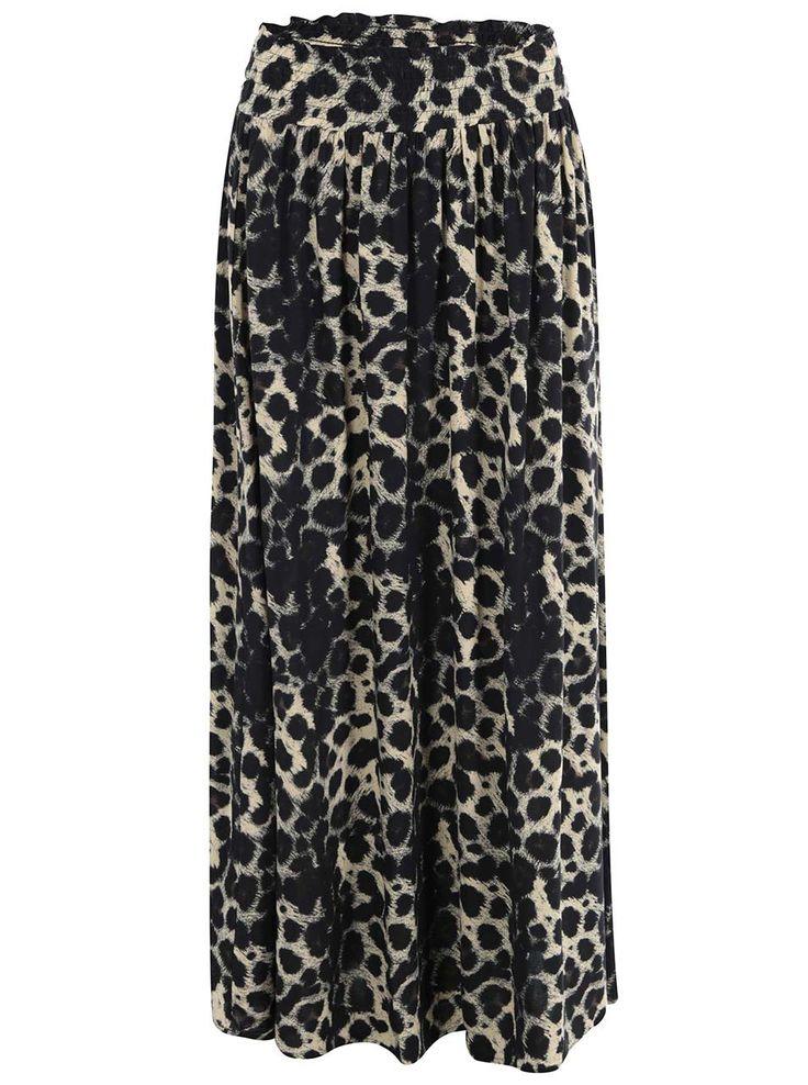 Fustă maxi cu imprimeu leopard negru Vero Moda Easy - Vero Moda