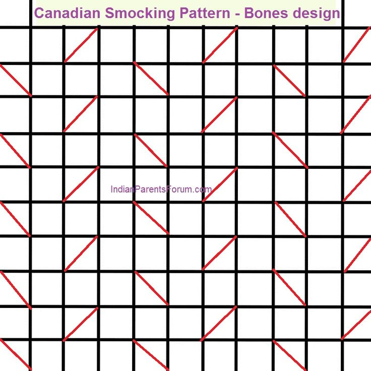 Canadian Smocking tutorials - Bones design - pattern and step by step pictures