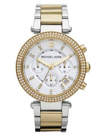 MICHAEL KORS Parker two tone stainless steel chronograph ΜΚ5626 http://kloxx.gr/brands/michael-kors/michael-kors-parker-two-tone-stainless-steel-chronograph-mk5626