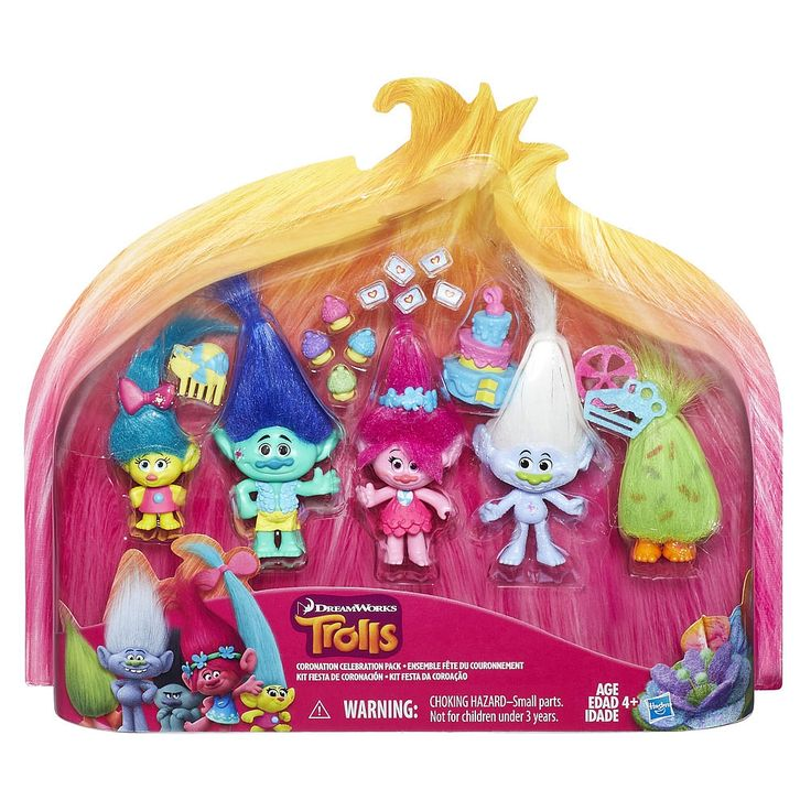 Celebrate DreamWorks Trolls Poppy's big celebration day with her best friends! The Coronation Celebration Pack has what's needed to start a party in style! In addition to Poppy, this set includes DreamWorks Trolls Branch, Guy Diamond, Smidge, and Fuzzbert figures to play out party scenes. Each figure has a confetti mark, even Fuzzbert who has soft sprinkles printed onto his hair! Brush and style their hair with the included comb and accessories. It's not a party without cake. . .pretend…