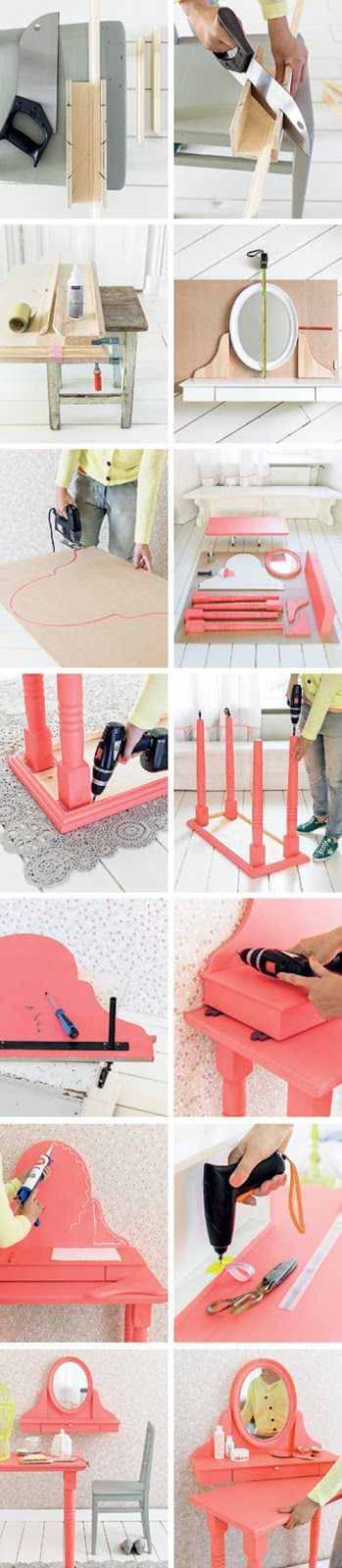 Heart Handmade UK: Dressing Table on Wheels DIY From 101 Woonideeen Magazine