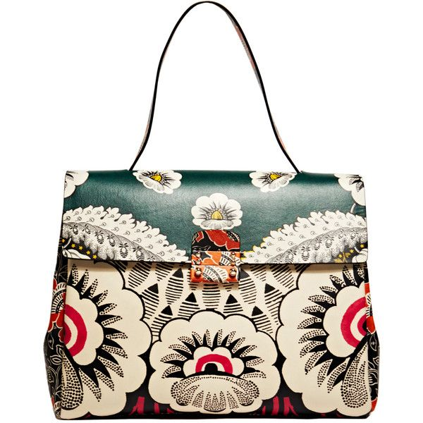 NEW SEASON - Valentino Womens Single Handle Floral Leather Bag featuring polyvore, fashion, bags, handbags, bolsas, purses, red, leather pouch, red leather handbag, leather handbags, over the shoulder bag and white leather purse