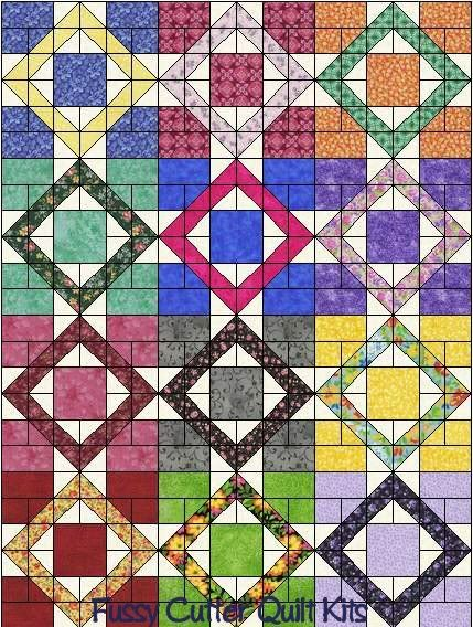 scrappy quilt patterns | Scrappy Fabrics Calico Floral 9 Patch Pattern Easy Pre-Cut Quilt ...