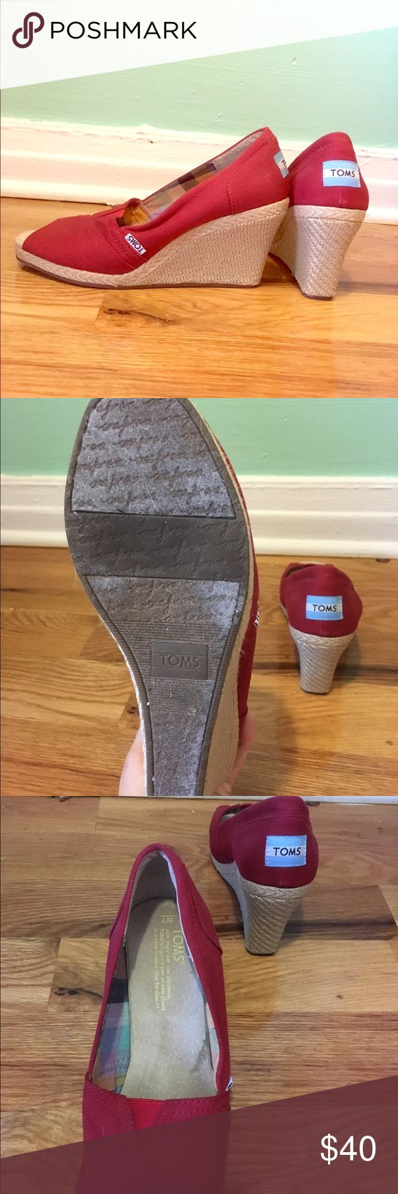 Red Toms wedges size W7 These canvas red Toms wedges have hardly been worn. Size W7. TOMS Shoes Wedges
