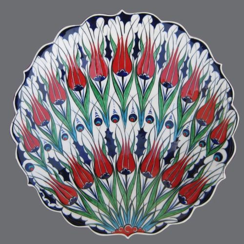 Turkish Ottoman Persian Iznik Ceramic Tile Plate Tulip Rose Mexican Talavera | eBay