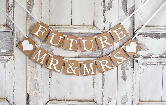 Custom Wedding Banner Garland Engagement Mr Mrs Rustic Decor