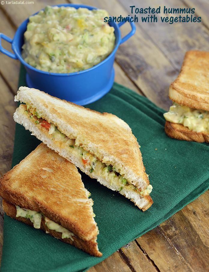 Toasted Hummus Sandwich with Vegetables recipe | by Tarla Dalal | Tarladalal.com | #41312