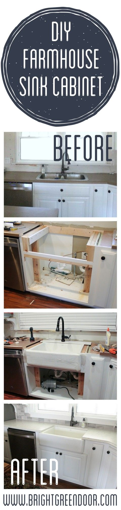 The Farmhouse Sink- Altering an existing cabinet base to fit a farmhouse sink. www.BrightGreenDoor.com