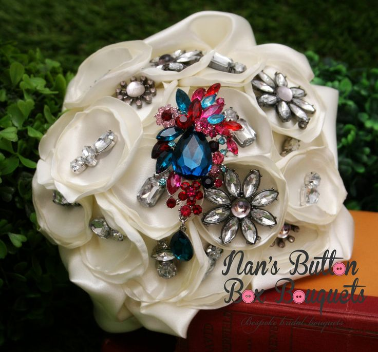 Brooch bouquet with feature brooch by Nan's Button Box Bouquets www.nansbuttonboxbouquets.com.au