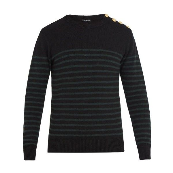 Balmain Buttoned-shoulder crew-neck cashmere sweater (1.855 BRL) ❤ liked on Polyvore featuring men's fashion, men's clothing, men's sweaters, black, mens slim fit cashmere sweaters, mens striped sweater, mens button sweater, mens crew neck sweaters and mens cashmere sweaters
