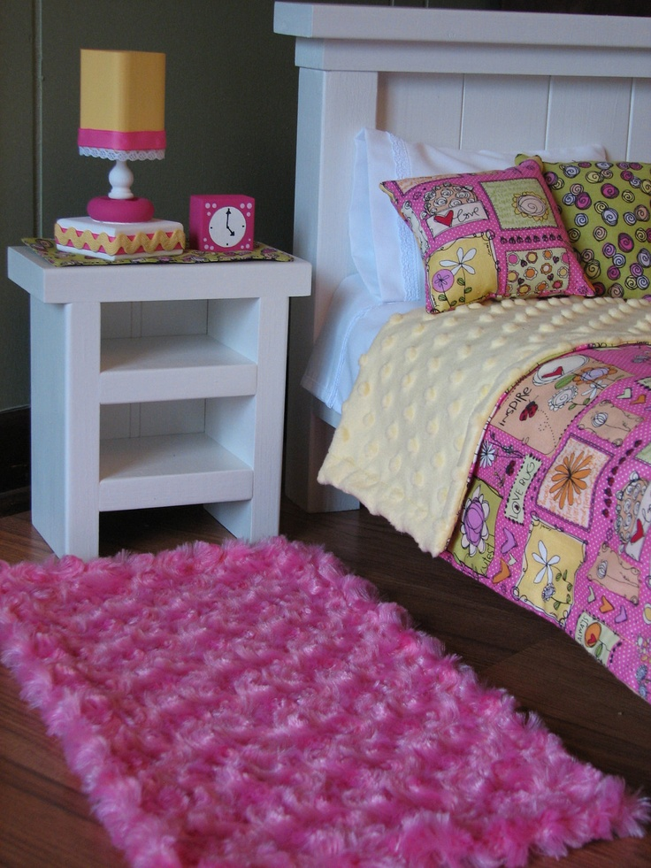 "Bedroom Accessories for American Girl / 18"" doll - Nightstand / Runner / Lamp / Alarm Clock / Rug. $40.00, via Etsy."