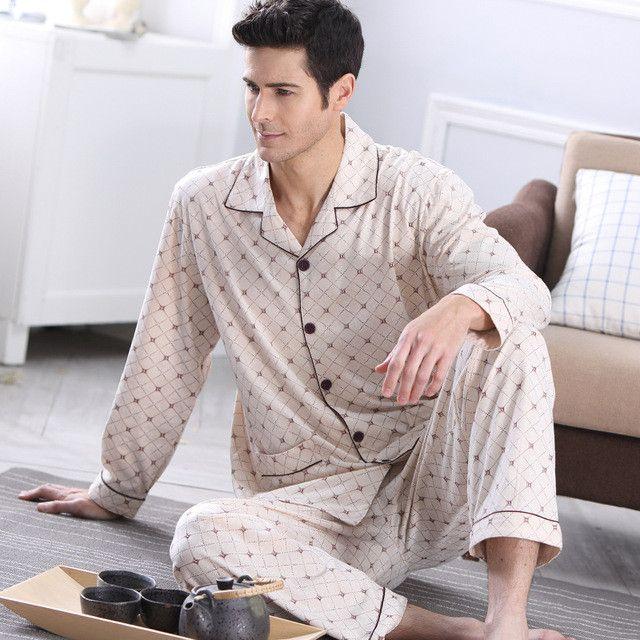 Men's Pajamas Autumn Long Sleeve Pyjamas Sleepwear Cotton Plaid Men Pijama Male Lounge Pajama Sets Plus size Nightwear 4XL