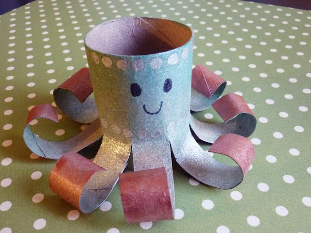 Octopus made from toilet roll. #Craft #Art #Activities #Animals