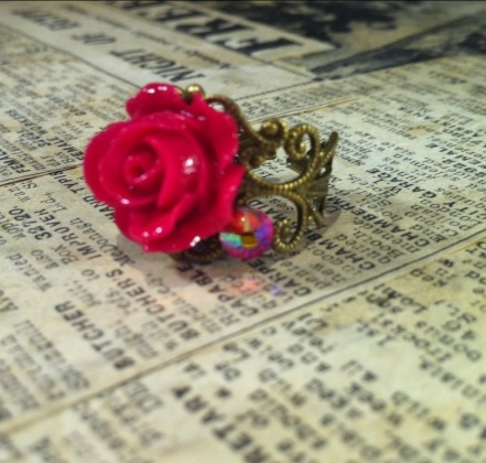 Lovely Red Rose Vintage Style Ring   Fanny westgate collection €10  www.trulyirishcraft.com