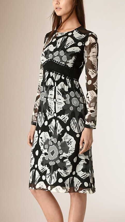 Black white Tie-dye Print Crepe de Chine and Lace Dress - Image 1