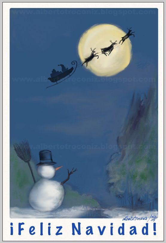 CHRISTMAS DEL 2015/ ¡FELIZ NAVIDAD!…le deseo a la familia y los amigos con Papá Noel, con muñeco de nieve, con árbol adornado, con pesebre: Niño Jesús con San José y la Virgen, la mula y buey, un ángel con trompeta, Estrella de Belén y los pastores, un caganet (que figura Mariano), el corcho y el serrín, nieve de harina, papel de plata corriendo en riachuelo desde un molino que se mueve por pilas, los Reyes Magos…—…