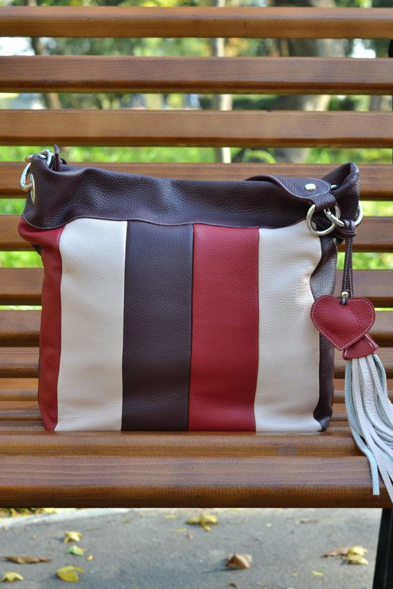 Strips LEATHER Handbag Leather Hobo Bag Leather by CORYSBAGS