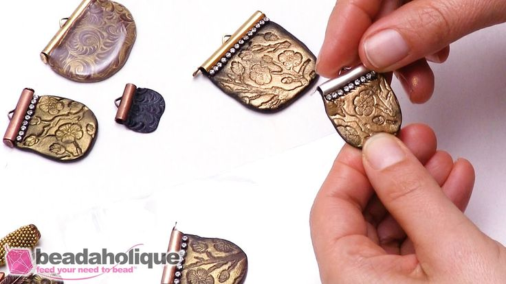 How to Create a Texturized Crystal Clay Stamping using a Ribbon End by B...