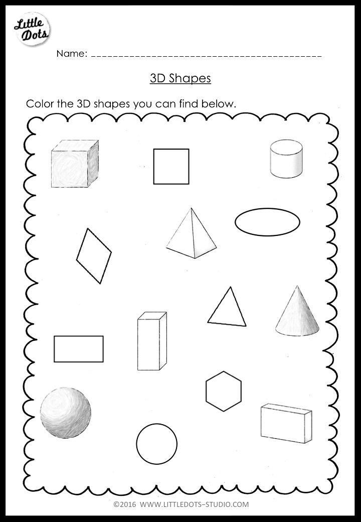 Kindergarten Math 3D Shapes Worksheets and Activities in