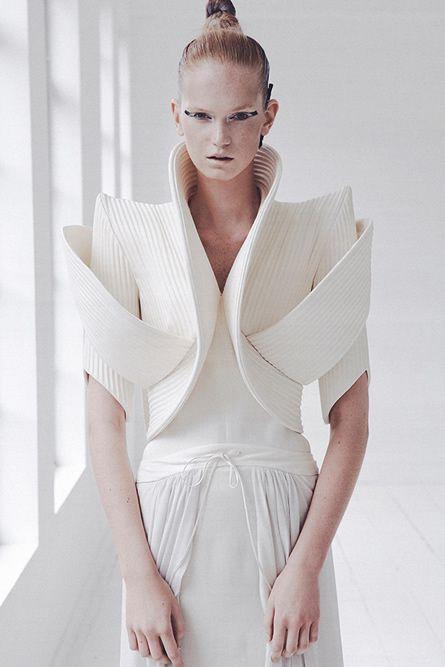 3D Sculptural Fashion Design #art White, angular bolero with textured surface detail