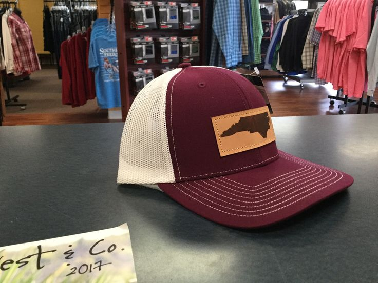 North Carolina Outline Leather Patch Hat- Maroon/White