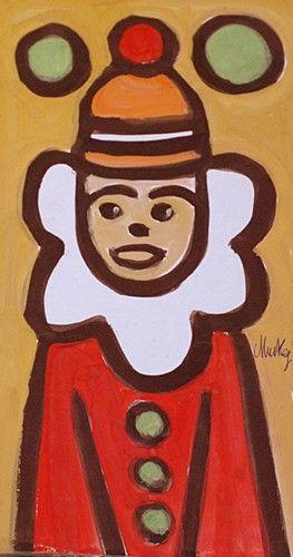 Markey Robinson 'Clown' #art #IrishArt #painting #clown #DukeStreetGallery