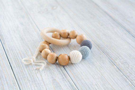 Teething ring with crochet juniper beads and natural by MyFirstToy