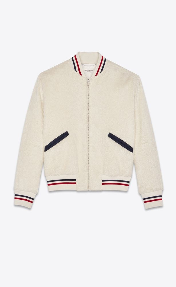 80dff83a5cc2 SAINT LAURENT Casual Jackets Man Varsity jacket in off-white fake fur a V4