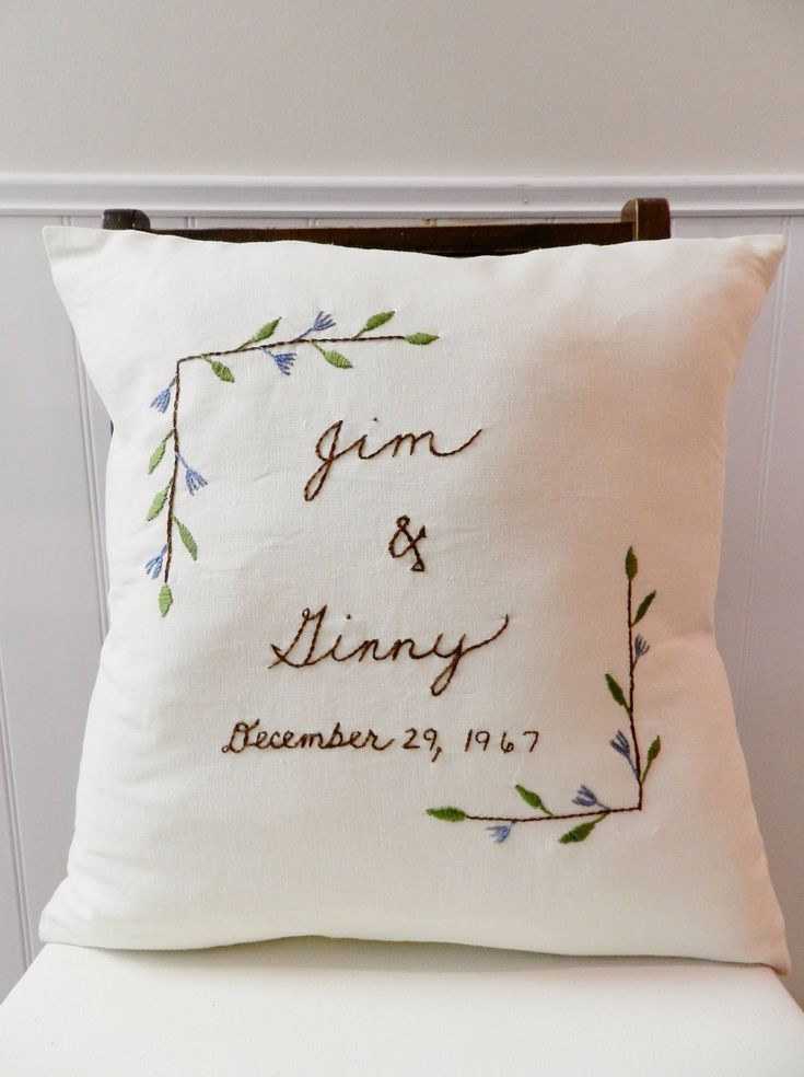 A personal favorite from my Etsy shop https://www.etsy.com/listing/203368012/couples-names-and-wedding-date-pillow