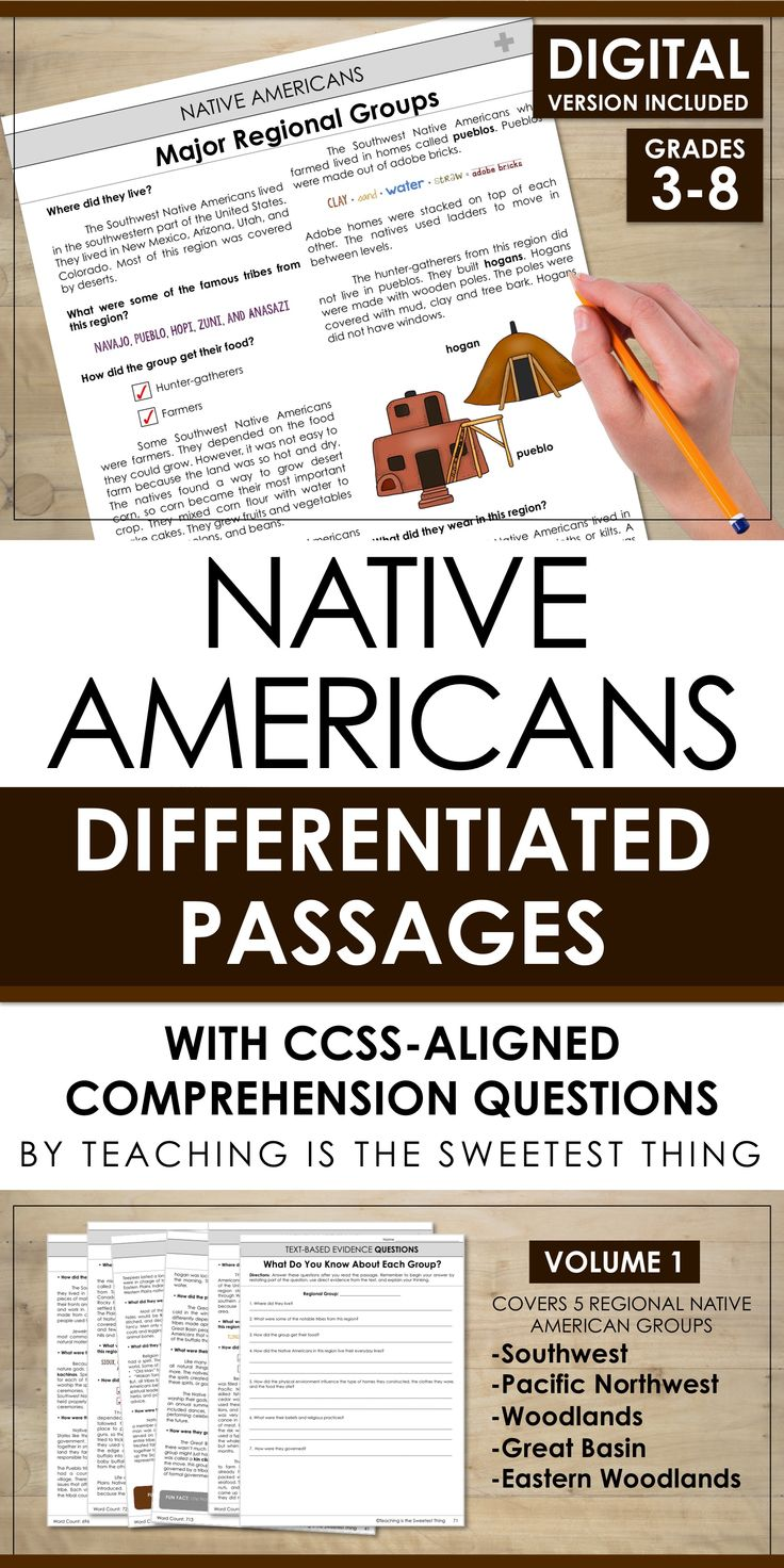 Differentiated Reading Passages focused on the Major Native American Tribes. Includes Common Core Aligned Comprehension Questions and  more! There are FIVE LEVELS OF EACH PASSAGE to make differentiation easy in your classroom! The texts include a wealth of information, making them perfect for use during both Social Studies and reading! [Southwest, Pacific Northwest, Eastern Woodlands, Great Basin, Woodlands]
