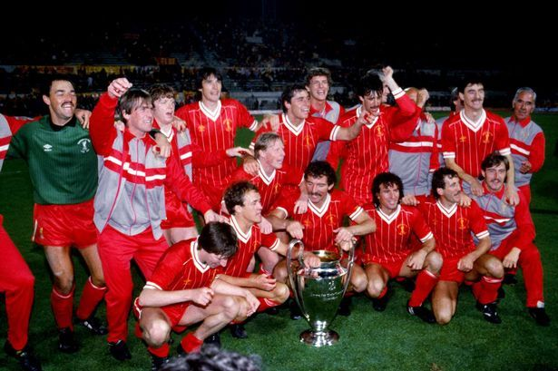 May 30 1984: Kenny Dalglish with Liverpool players and coaching staff celebrating with the European Cup