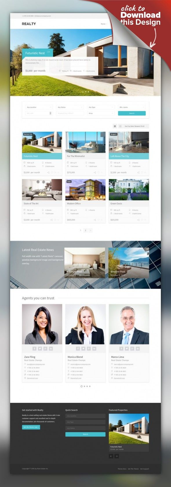 Realty - Real Estate WordPress Theme acf, agent, apartment, business, google maps, idx, listing, MLS, office, page builder, property, real estate, realtor, visual composer, wpml Realty is a fully-fledged property management system for real estate agents and companies. Accept free or paid submissions, offer membership packages – all from the frontend of your site. All theme components are available in Visual Composer, to help you build unique ...
