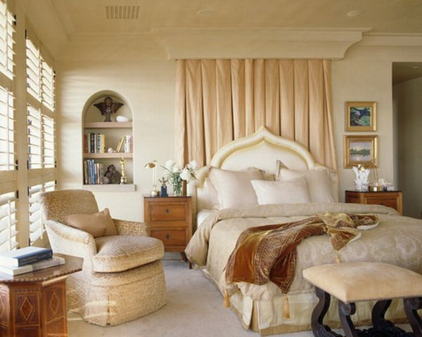 Mediterranean Bedroom with Sophisticated Bedding Sets