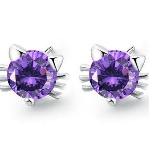 2pcs: Diamond Cat Head Shape Earrings