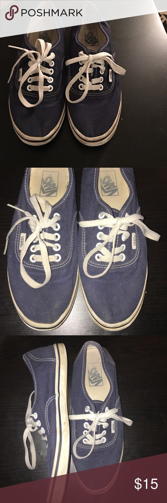 Navy blue vans Used but lots of life left - will be washed before shipped. Outer lining on the inside edge of the shoe is slightly detached (common among vans) - will sell to best offer Vans Shoes