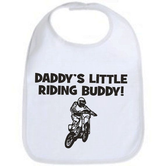 Daddy's little riding buddy dirtbike motocross cool custom baby infant bib color choice pink blue black white shower gift idea on Etsy, $6.49