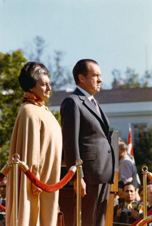 Richard Nixon meeting Indira Gandhi in 1971 following the liberation of Bangladesh (formerly East Pakistan).