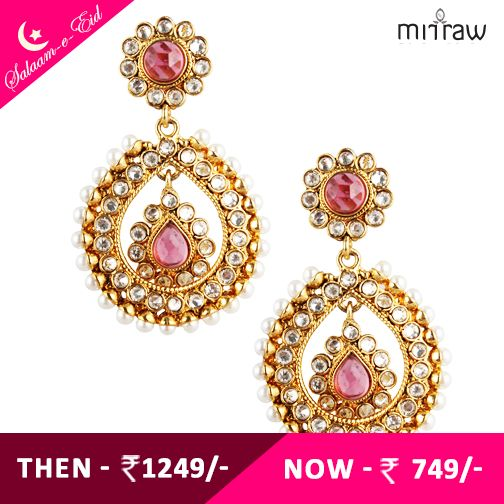 Rani dark pink tear drop dangler pearl polki earring.Shop Now- http://bit.ly/1dxeWQA  ‪#‎Salaam‬-e-Eid