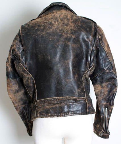 vintage leather jacket - back view