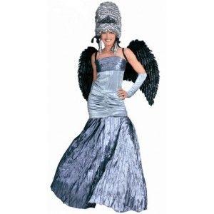 Costume de deguisement ange de minuit femme, somptueuse robe grise satinée pour fêtes déguisées et nouvel an.