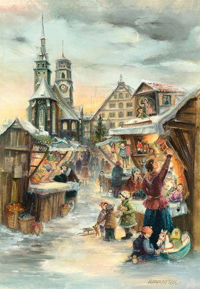 """Stuttgart, Germany Christmas Market. FromBrück and Sohn (Printers in Meissen, Germany since 1793) a charming Advent Calendar of Stuttgart, Germany (the capital of the southern state of Baden-Wurttemberg)depicting the Christmas Market. $10.49. Art by Hopperdietzel. This delightful advent calendar is 10"""" x 15"""".  Made in Germany. Available at www.mygrowingtraditions.com"""