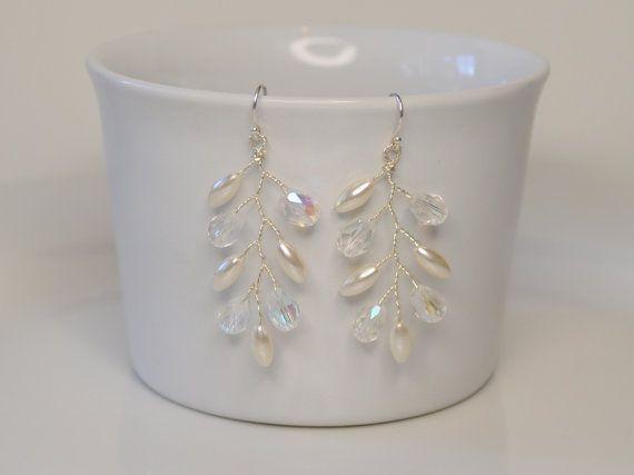 Hoja de helecho cristal Grecian pendientes por RoslynHarrisDesigns