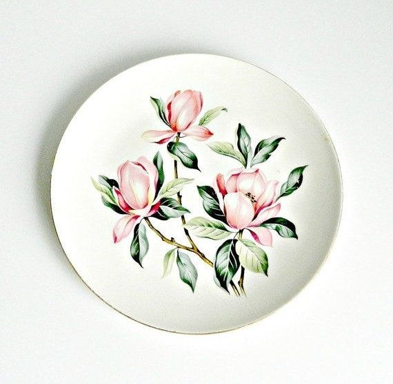 Homer Laughlin RHYTHM Dinner Plate, Vintage Homer Laughlin Plate, Pink Magnolias, 1950s Homer Laughlin, HL M54N3. by retrogroovie on Etsy