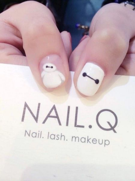 disney big hero 6 baymax nail art