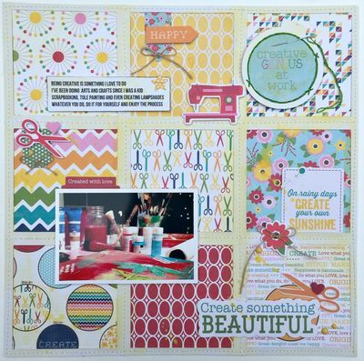 Create Something Beautiful layout by Kristine Davidson featuring Jillibean Soup Sew Sweet Sunshine Soup