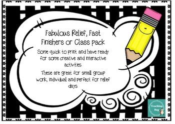 This set has 11 different activities that could be used for Relief teachers, fast finishers, small groups or focused tasks.This set includes lots of creative writing tasks/activities with prompts.Would suit most year levels.