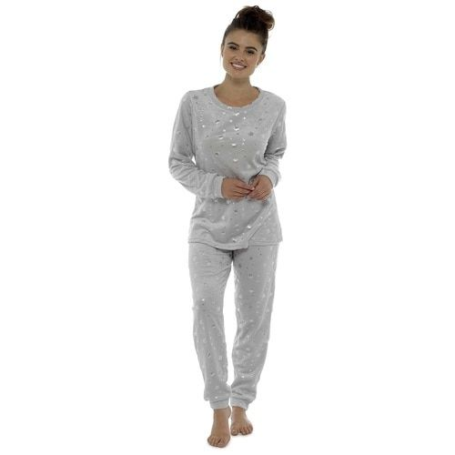 148a39cb5d Ladies Silver Stars Foil Print Cosy Fleece Twosie Loungewear Set  Grey