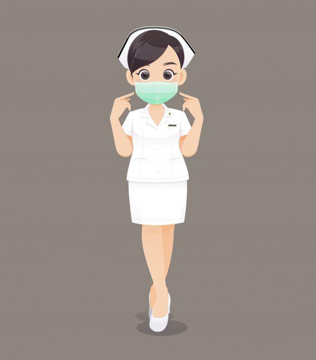 Nursing Wears A Protective Mask Cartoon Woman Doctor Or Nurse In White Uniform Cute Cartoon Characters Cartoon Superhero Background
