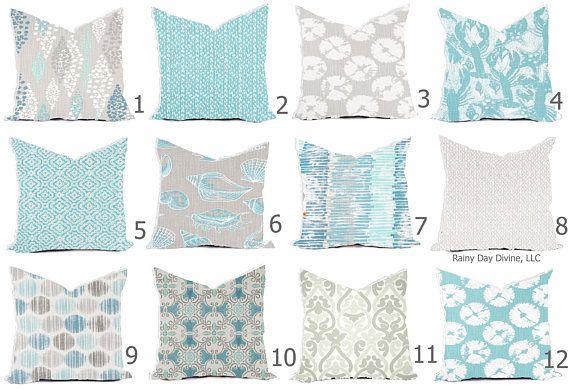 Pillow Covers Custom French Gray Aqua