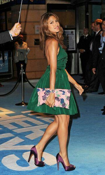 Eva Mendes, purple satin heels